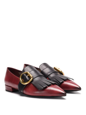 Prada: flat shoes online - Fringed leather flat shoes