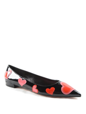 Prada: flat shoes online - Heart patches patent flats