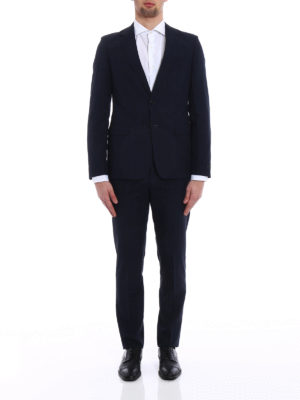 Prada: formal suits online - Check wool and silk blend suit