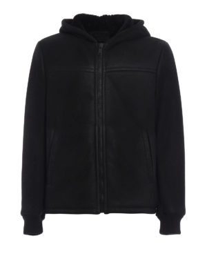 Prada: Fur & Shearling Coats - Hood detailed shearling short coat