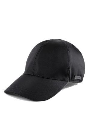 PRADA: cappelli - Cappello da baseball in nylon nero