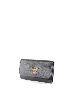 Prada: key holders online - Saffiano leather key holder