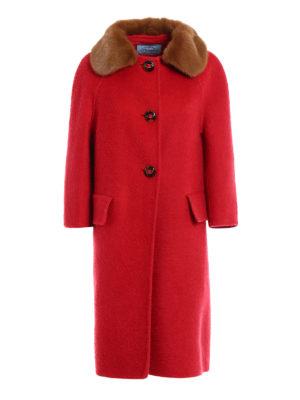Prada: knee length coats - Mink fur collar cashmere coat