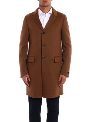Prada: knee length coats online - Camel double coat