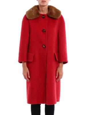 Prada: knee length coats online - Mink fur collar cashmere coat