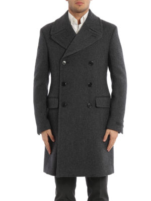 Prada: knee length coats online - Patterned wool double-breasted coat