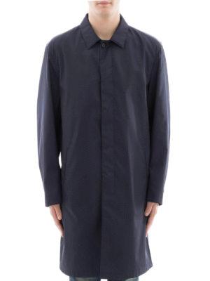 Prada: knee length coats online - Shirt collar buttoned nylon coat