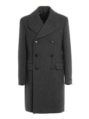 Prada: knee length coats - Patterned wool double-breasted coat