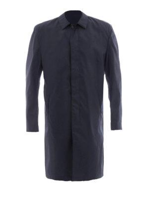 Prada: knee length coats - Shirt collar buttoned nylon coat