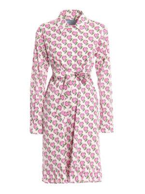 Prada: knee length dresses - Heart print ruffle shirt dress
