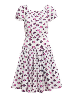 Prada: knee length dresses - Kiss print cotton poplin dress