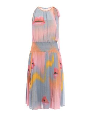 Prada: knee length dresses - Lip print chiffon dress