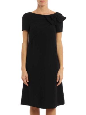Prada: knee length dresses online - Bow detail cady dress