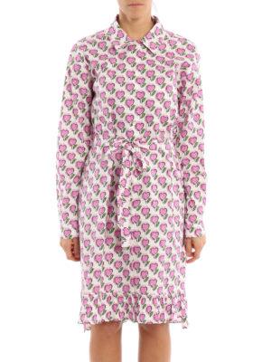 Prada: knee length dresses online - Heart print ruffle shirt dress