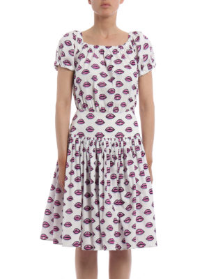 Prada: knee length dresses online - Kiss print cotton poplin dress