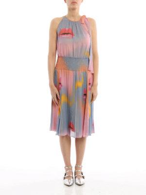 Prada: knee length dresses online - Lip print chiffon dress