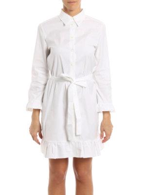 Prada: knee length dresses online - Stretch cotton ruffle shirt dress