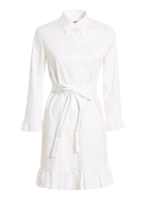 Prada: knee length dresses - Stretch cotton ruffle shirt dress