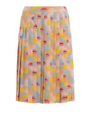 Prada: Knee length skirts & Midi - Lips print silk pleated skirt