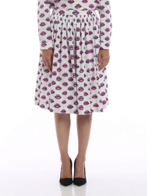 Prada: Knee length skirts & Midi online - Kiss print cotton poplin skirt