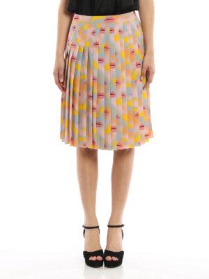 Prada: Knee length skirts & Midi online - Lips print silk pleated skirt