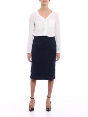 Prada: Knee length skirts & Midi online - Stretch poplin A-line blue skirt