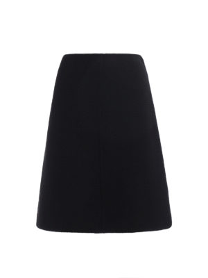 Prada: Knee length skirts & Midi - Shetland double wool flared skirt