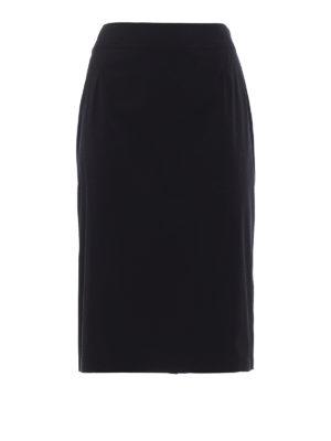 Prada: Knee length skirts & Midi - Stretch poplin A-line black skirt