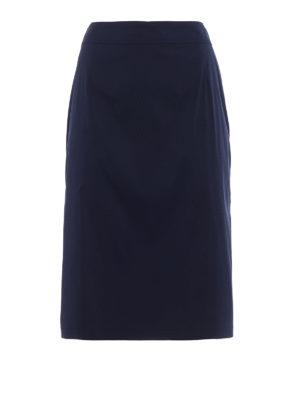 Prada: Knee length skirts & Midi - Stretch poplin A-line blue skirt