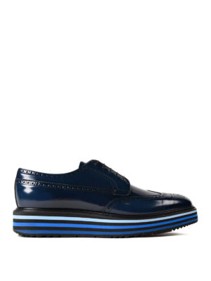 Prada: lace-ups shoes - Brushed leather wedge Derby brogues