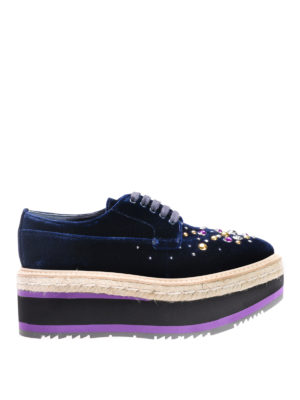 Prada: lace-ups shoes - Embellished velvet lace-ups