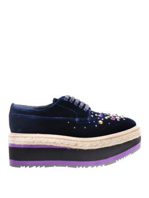 Prada: lace-ups shoes - Embellished velvet lace-ups