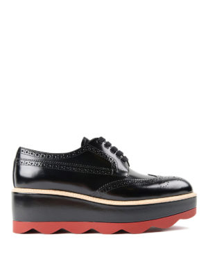 Prada: lace-ups shoes - Lace-up leather platform shoes