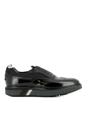 Prada: lace-ups shoes - Leather and fabric platform shoes