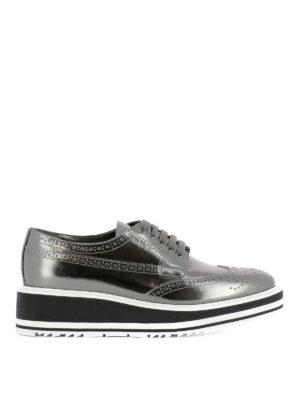 Prada: lace-ups shoes - Maxi sole metallic leather brogues