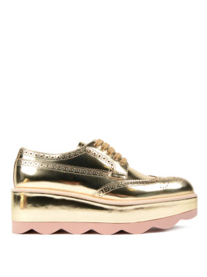 Prada: lace-ups shoes - Metallic leather platform shoes