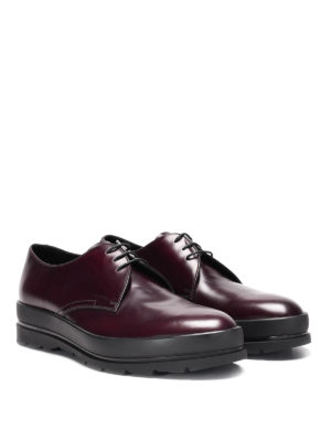 Prada: lace-ups shoes online - Brushed leather lace-ups