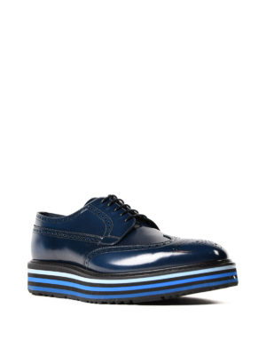 Prada: lace-ups shoes online - Brushed leather wedge Derby brogues