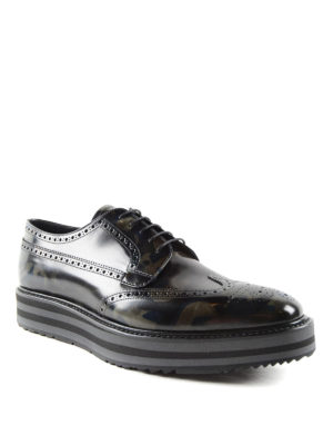 Prada: lace-ups shoes online - Camu leather Derby brogue