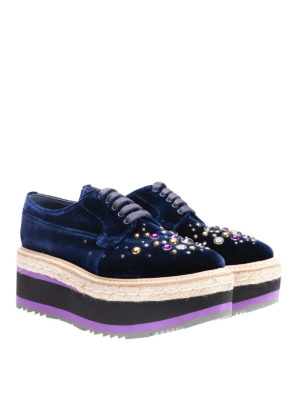 Prada: lace-ups shoes online - Embellished velvet lace-ups