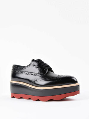 Prada: lace-ups shoes online - Lace-up leather platform shoes