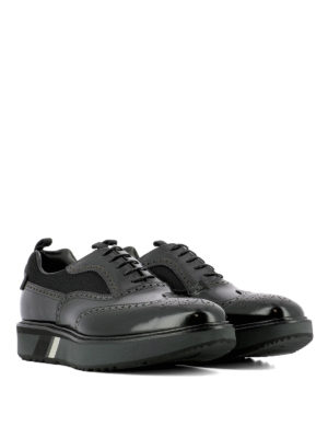 Prada: lace-ups shoes online - Leather and fabric platform shoes
