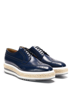 Prada: lace-ups shoes online - Maxi sole leather brogue lace-ups