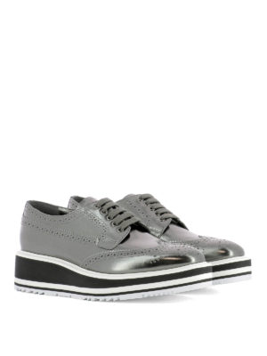 Prada: lace-ups shoes online - Maxi sole metallic leather brogues