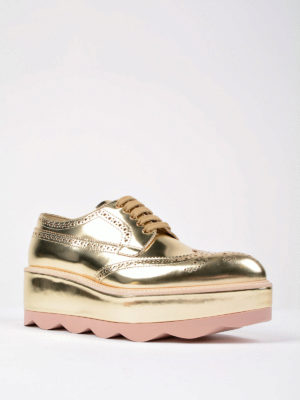 Prada: lace-ups shoes online - Metallic leather platform shoes