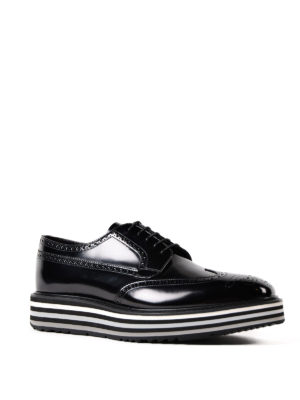 Prada: lace-ups shoes online - Platform Derby brogue brushed shoes