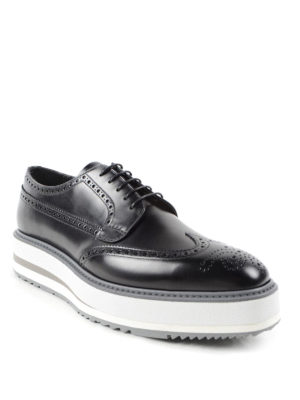 Prada: lace-ups shoes online - Wedge leather Derby brogue