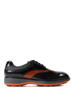 Prada: lace-ups shoes - Orange detailed sporty brogues