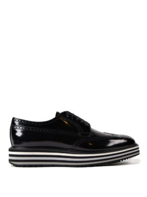 Prada: lace-ups shoes - Platform Derby brogue brushed shoes