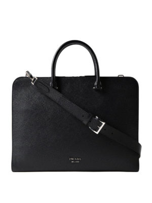 Prada: laptop bags & briefcases - Black saffiano leather briefcase